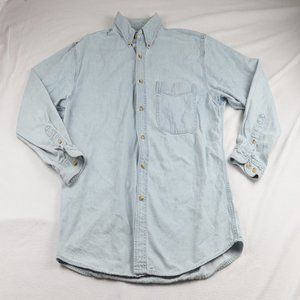 Lee Men's XL Vintage Blue Denim Button-ups Polo